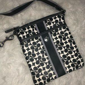 Coach black & white crossbody bag
